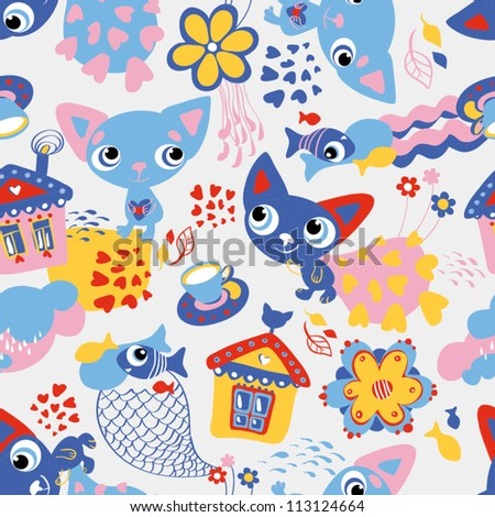 Cute funny seamless pattern with cats and fish - stock vector