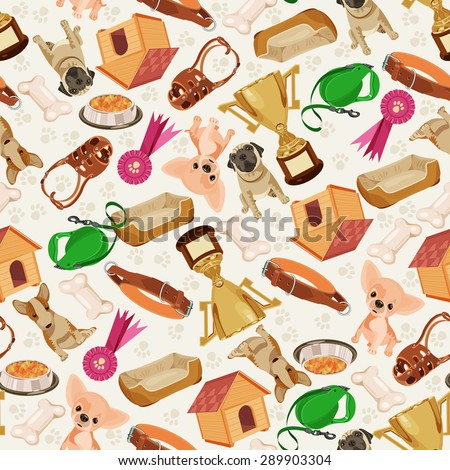 Cute funny seamless pattern with dogs and things for pets. Retro seamless vector pattern of dog icons. Endless texture. Doggy style. Retro colors. - stock vector
