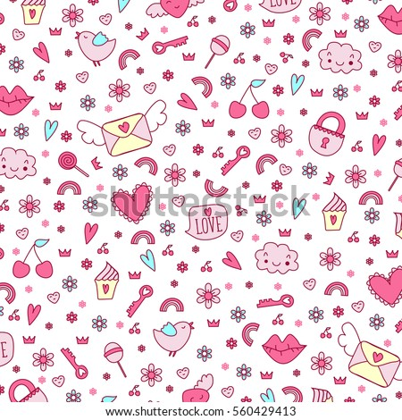 Cute funny seamless vector background. Love icon sweet design pattern.