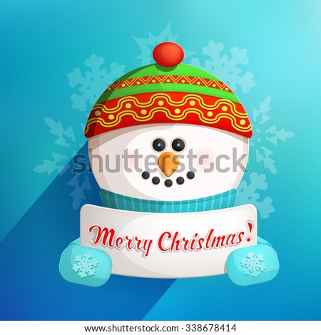 Cute Funny Snowman Holding White Page with Greetings - stock vector