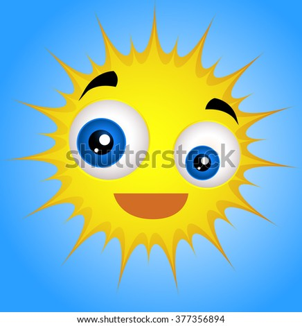 Cute Funny Sun Emoticon - stock vector