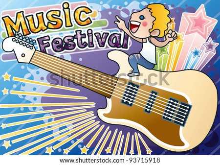 Cute Funny Young Boy with Big Electric Guitar on blue background - stock vector