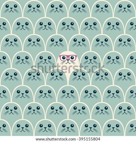 Cute fur seals seamless pattern. Vector illustration in cartoon style. - stock vector
