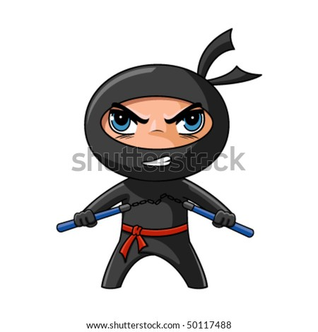 Cute furious ninja with nunchaku ready to attack - stock vector