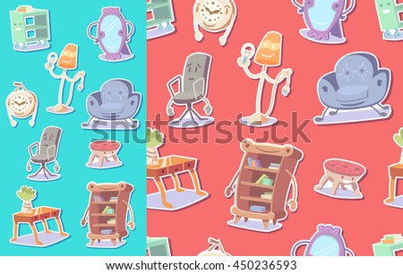 Cute furniture seamless pattern. Vector illustration.