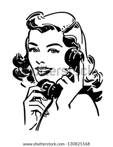 Cute Gal On The Phone - Retro Clip Art Illustration - stock vector