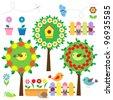 Cute garden vector set - stock vector