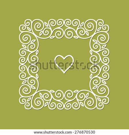Cute geometric floral frame in mono line style - stock vector