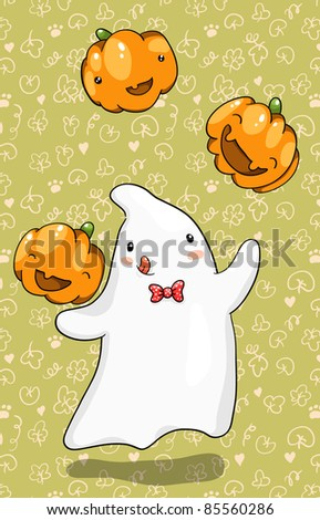 Cute ghost juggling with pumpkins. Halloween vector illustration, easy to change background - stock vector