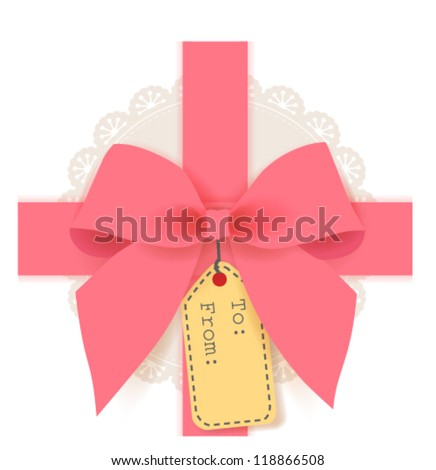 cute gift box - stock vector