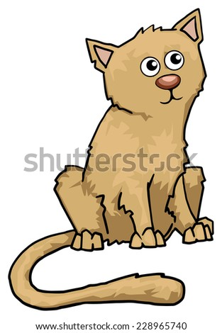 Cute ginger cat, vector illustration - stock vector