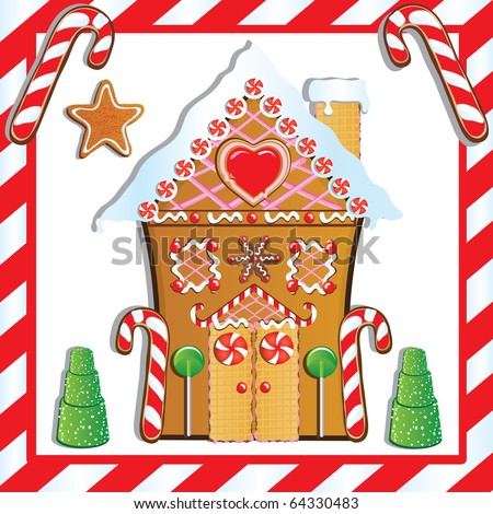 Cute Gingerbread House with gumdrop trees and candy cane frame.