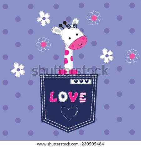 cute giraffe baby in the pocket vector illustration - stock vector