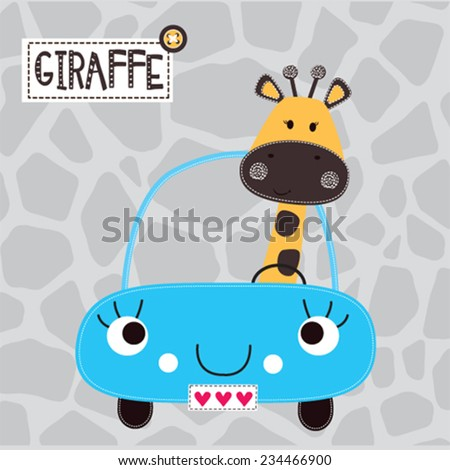 cute giraffe by car vector illustration - stock vector