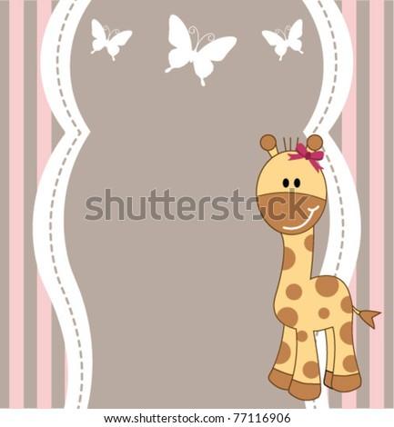 Cute giraffe card - stock vector