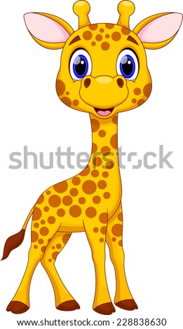 Cute giraffe cartoon - stock vector