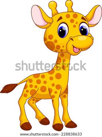 Cute giraffe cartoon stock vector 228838633 shutterstock - Dessin de girafe en couleur ...