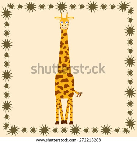 Cute giraffe cartoon in frame - vector illustration