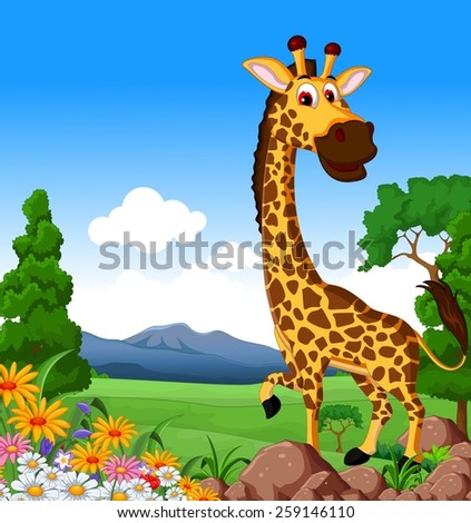 Cute giraffe cartoon in the jungle - stock vector