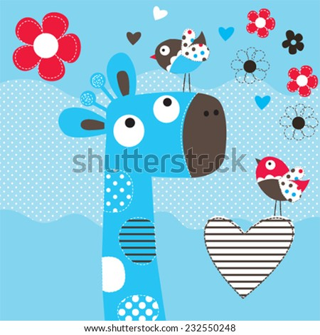 cute giraffe head with bird and flowers vector illustration - stock vector
