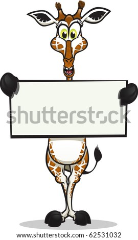 Cute Giraffe holding up a sign. Divided into layers for easy editing./ Cute Giraffe holding sign - stock vector