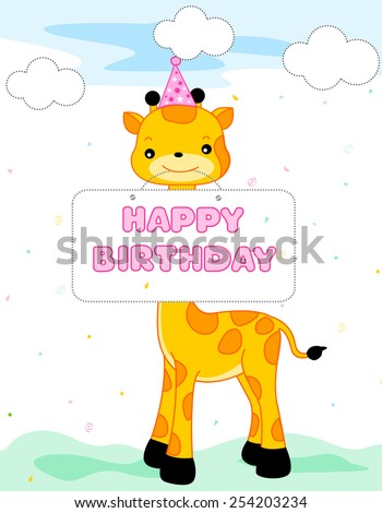 Cute giraffe wearing a party hat and holding a happy birthday notice, Birthday card specially for small kids - stock vector