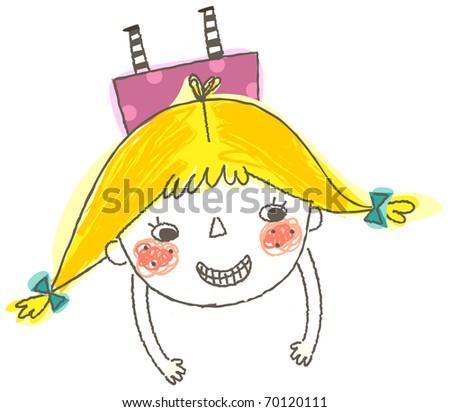cute girl - stock vector