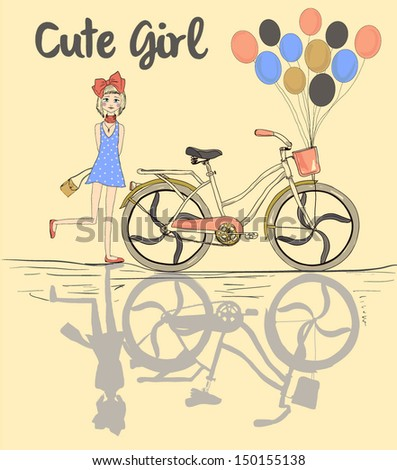cute girl and bicycle and balloons and silhouette - stock vector