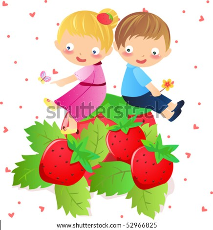 Cute girl and boy sit on the strawberry - stock vector