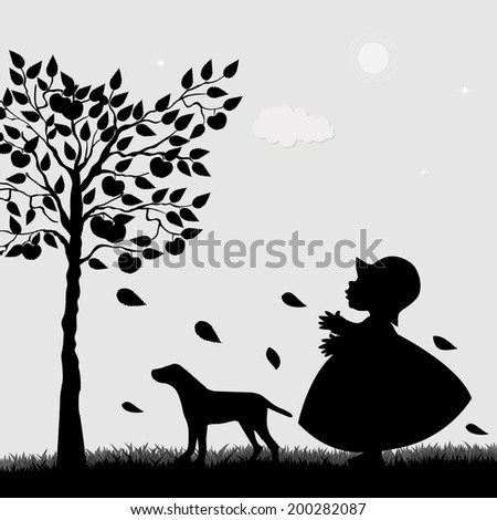 Cute girl and dog in the garden