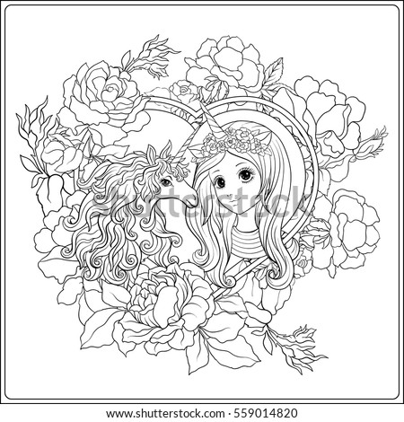 cute girl unicorn roses garden outline stock vector 559014820