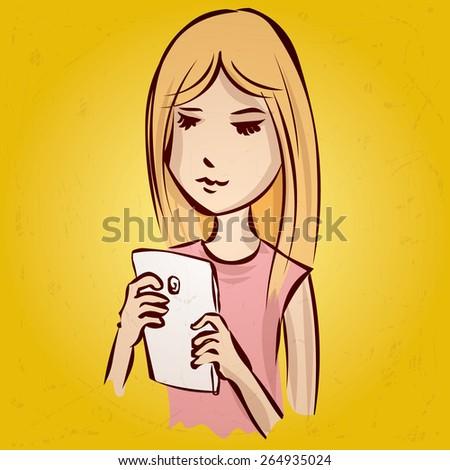 Cute girl chatting on her smartphone. Hand drawn cartoon vector illustration. - stock vector