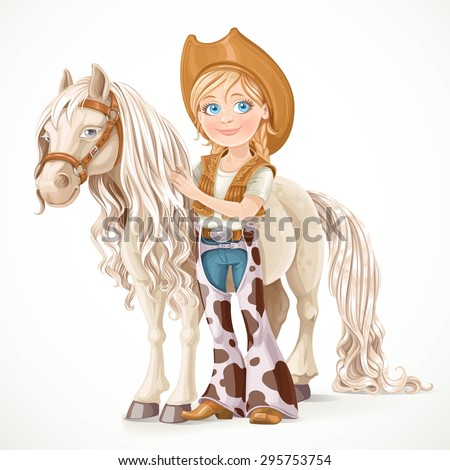 Cute girl dressed as a cowboy holds the reins saddled horse isolated on white background - stock vector