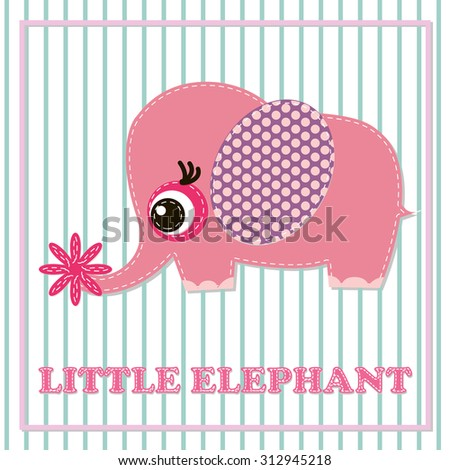 Cute girl elephant illustration for apparel or other uses,in vector. Baby showers, parties for baby girls. - stock vector