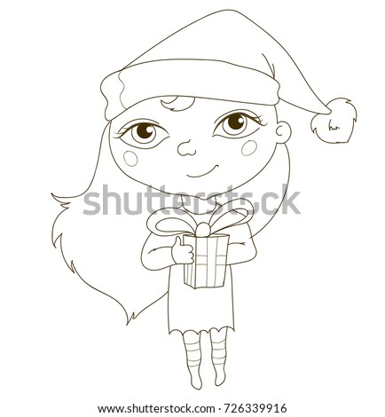 Cute Girl Elf With A Gift Christmas Coloring Page