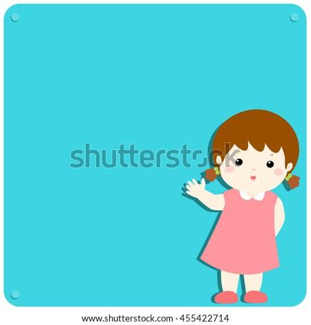Cute girl explains at the blank board vector illustration - stock vector