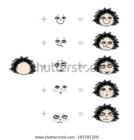 Cute girl face with different emotions - stock vector
