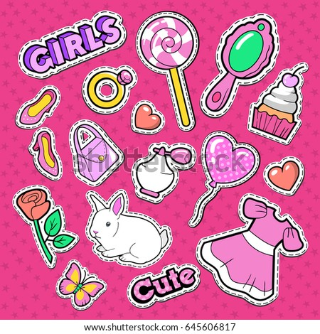 Cute Girl Fashion Stickers, Patches and Badges. Girlish Doodle with Hearts, Sweets and Cosmetics. Vector illustration