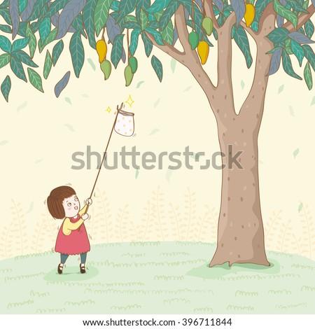 Cute girl harvesting mangoes - stock vector