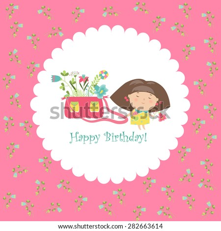 Cute girl holding bag with flowers. Vector greeting card
