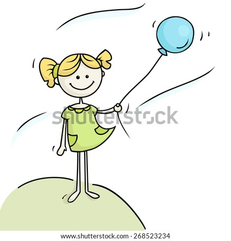 Cute girl  holding blue balloon takes the wind. Vector illustration of cartoon happy kid. - stock vector