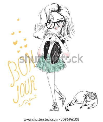 cute girl illustration  - stock vector
