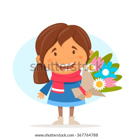 Cute girl in cartoon style with flowers. Vector illustration on the theme of spring and Easter. - stock vector