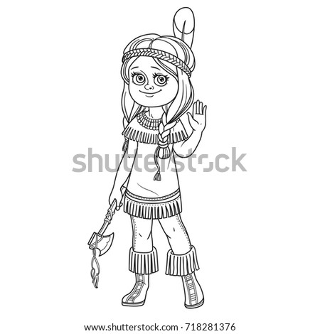 cute girl in indian costume outlined for coloring page - Girl Indian Coloring Pages