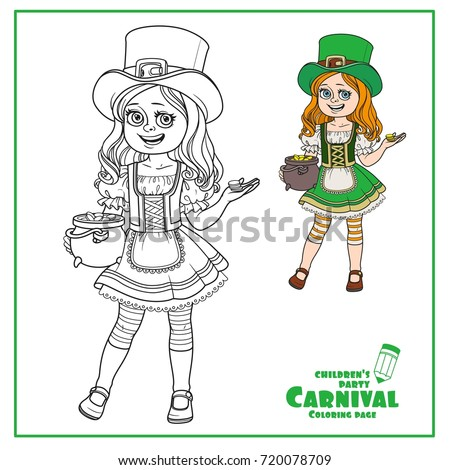 Coloring Pages Of Girl Leprechauns. Cute girl in leprechaun costume with a pot of gold color and outlined for coloring  page Girl Leprechaun Costume Pot Gold Stock Vector 720078709