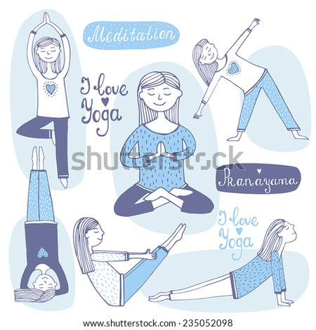 Cute girl in pose practicing yoga.Vector illustration  - stock vector