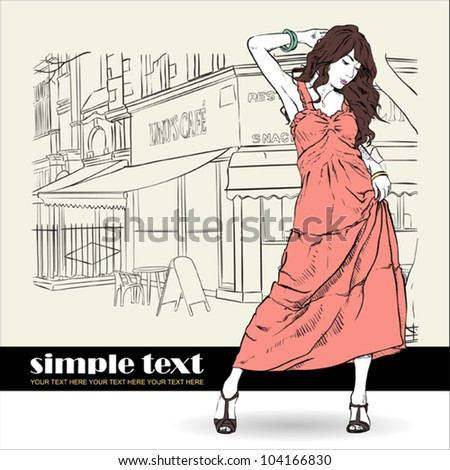 Cute girl in sketch-style on a street-cafe background. Vector illustration - stock vector