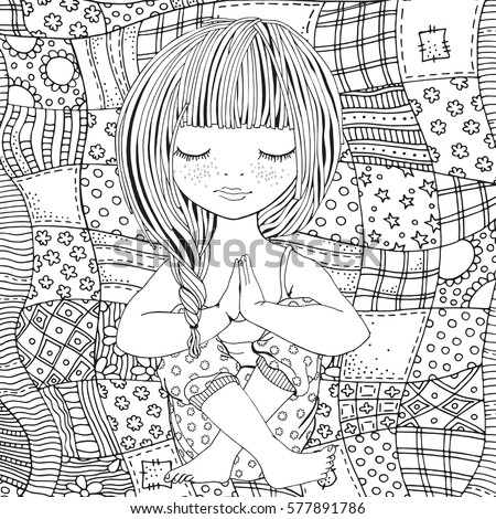 Cute Girl In Yoga Pose Adult Coloring Book Page Black And White Vector Illustration