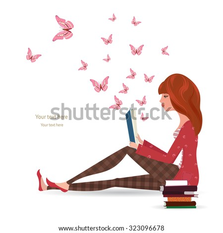 Cute girl is reading a book  - stock vector