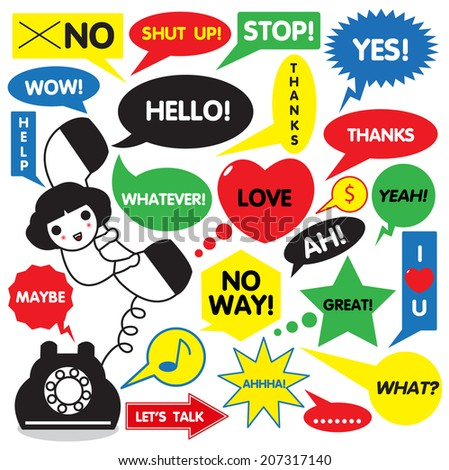 Cute Girl on Telephone with Speech Bubbles illustration set - stock vector